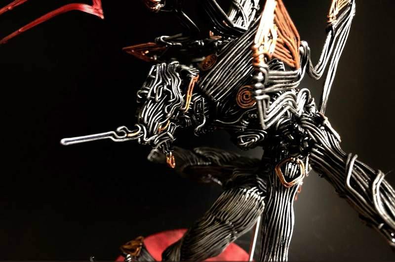 福音战士铁丝艺术品 惊艳的科幻科技金属感