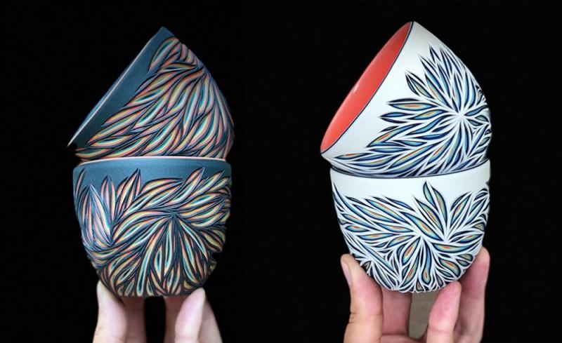 彩纹陶瓷雕刻五彩缤纷 朴实陶瓷杯藏着炫丽色彩