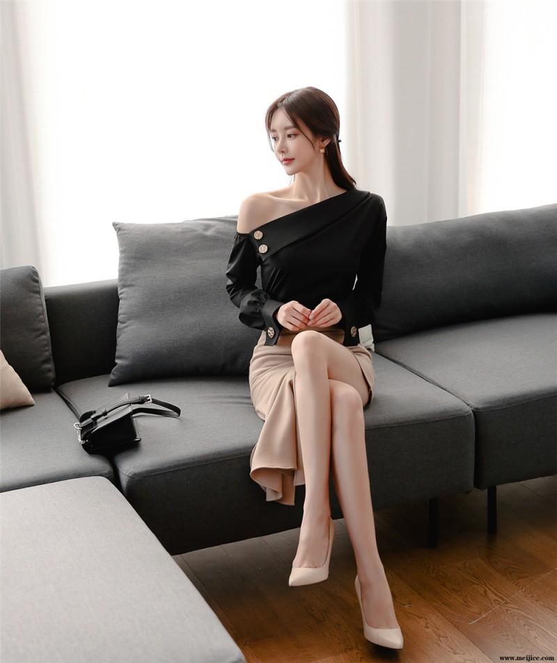 孙允珠丨单肩金属泛金翻领棕木鱼尾裙