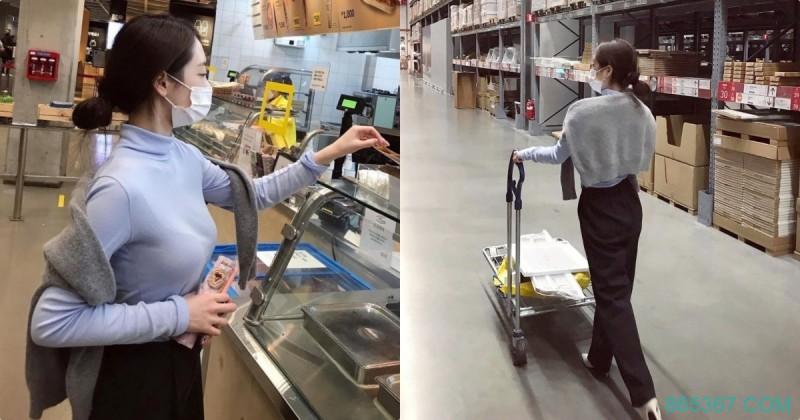 IKEA美食区正妹「养眼好显眼」,「逛街的性感背影」!